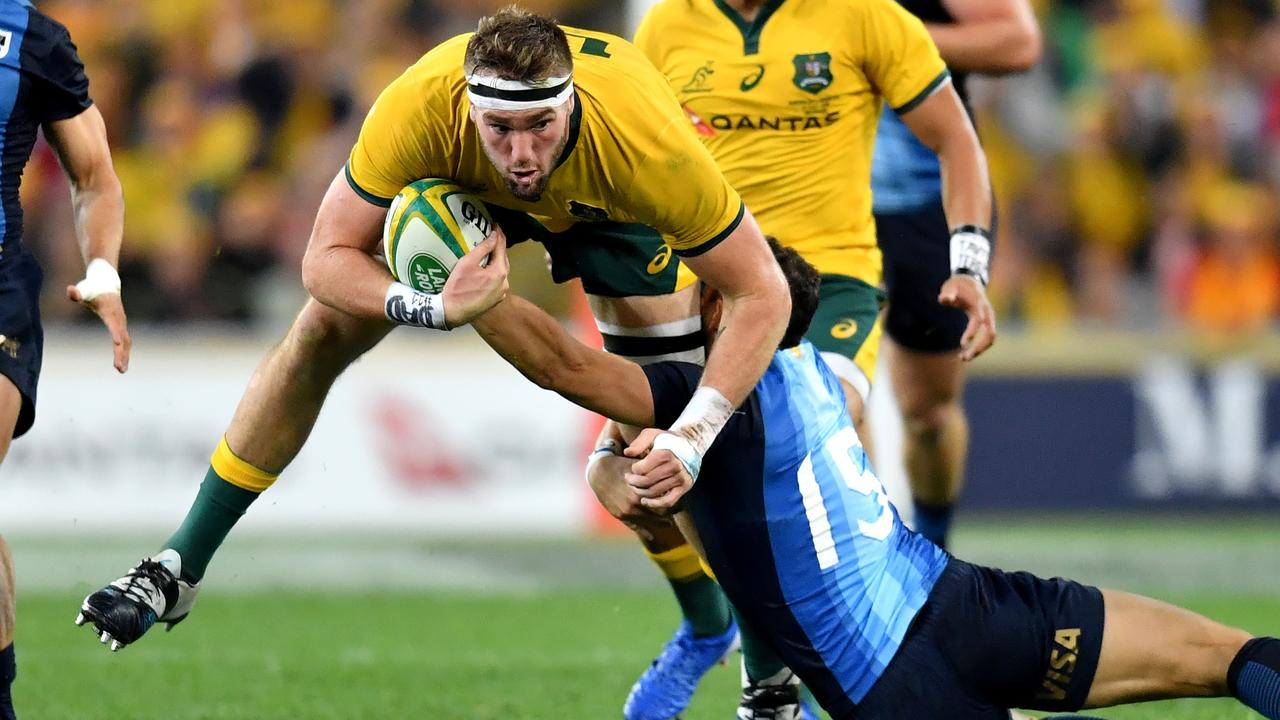 Evans Head product Izack Rodda playing for the Wallabies. He is currently training in isolation during the coronavirus pandemic. Photo Darren England.