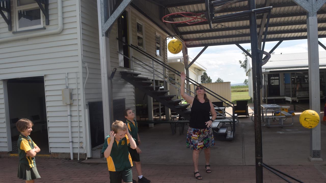 GOOD FUN: Mt Murchison students Kaden and Nate Chandler with Hannah Matheson and principal Jodie Glenn.