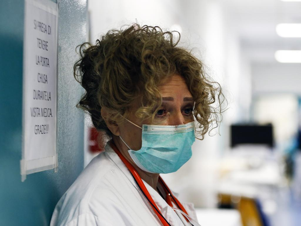 A medical staffer at the Santo Spirito hospital in Rome. Picture: Cecilia Fabiano/LaPresse via AP