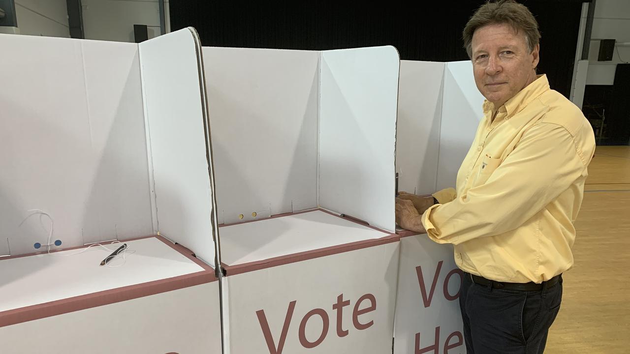 ELECTION: Noosa Mayoral candidate Tony Wellington on election day at Tewantin State School. Photo: Caitlin Zerafa