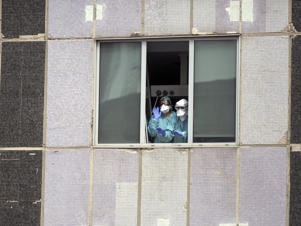 Medical workers at a hospital in Madrid, Spain. Picture: Manu Fernandez