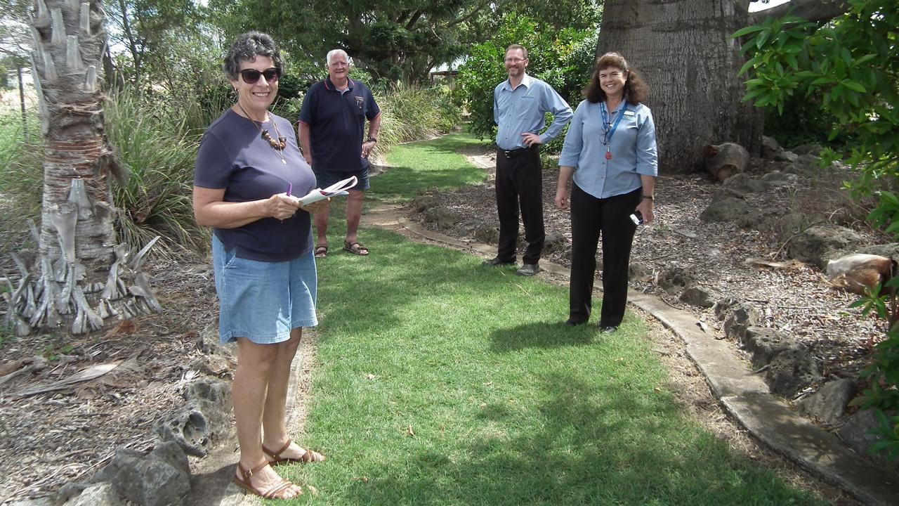 WALL OF FAME: Moira Thompson, Trevor Davis along with North Burnett Regional Coun cil's John Fraser and Tania Fraser check out possible route for the upcoming project.