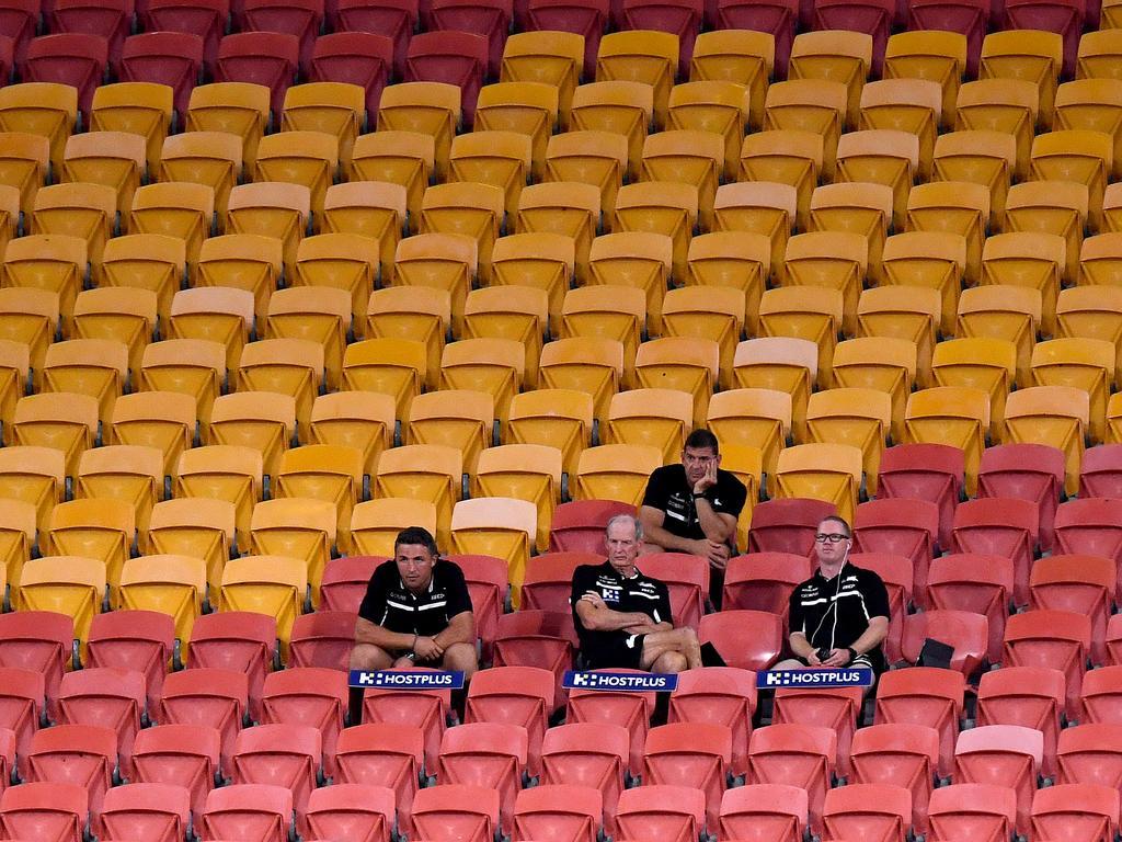 An empty Suncorp Stadium before the NRL shutdown. Picture: Bradley Kanaris/Getty