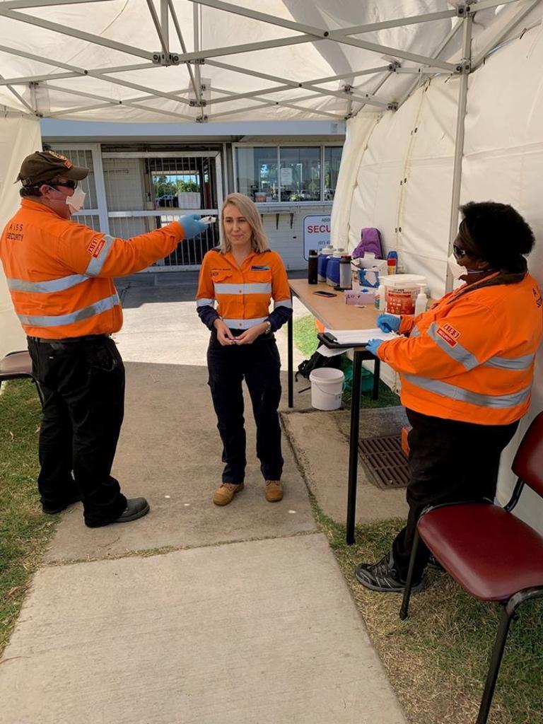 Adani workers having their temperature tested. Picture: Adani Australia