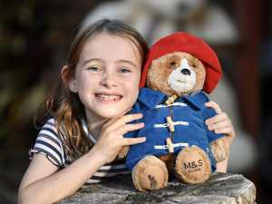 Siena MacDonald,9, with some of the teddy bears on