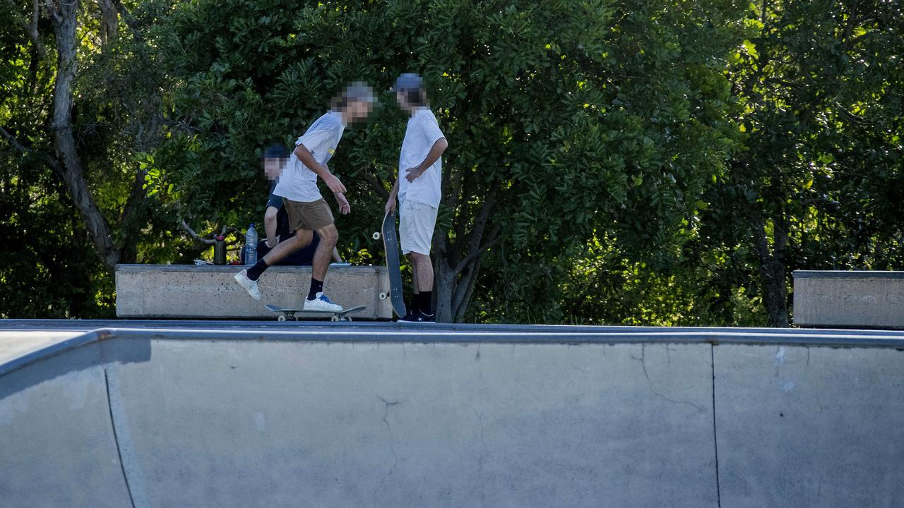 Despite all skateparks being closed to help stem the spread of Coronavirus, skaters were still using the Pizzey Park complex in Miami yesterday. Picture: Jerad Williams.