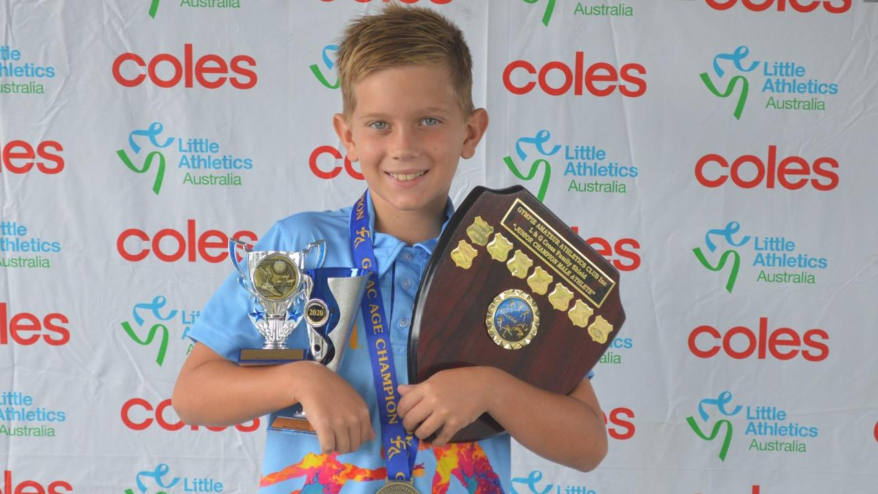 Mitchell Whittaker won the Les and Gail Cross Shield for under 8 to under 10 Junior male. He also won the age champion for under 9 and the Friday night competition. Photo: Gympie Amateur Athletics Club