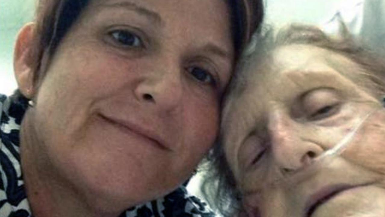 Vicky Crichton in hospital with her adored mum Brenda Bartlem-Ward.