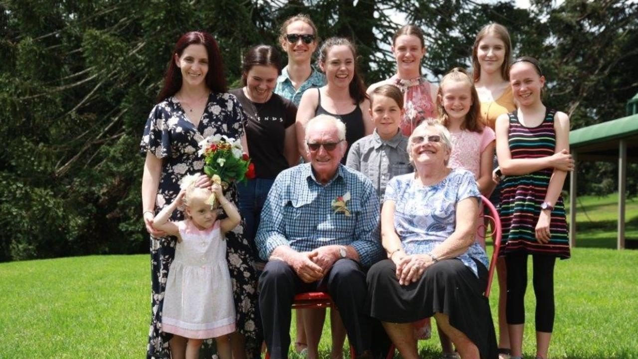 Clive and Beth Weier, from Mondure, celebrated their 60th wedding anniversary at the Bunya Mountains with their children and grandchildren. (Photo: Contributed)