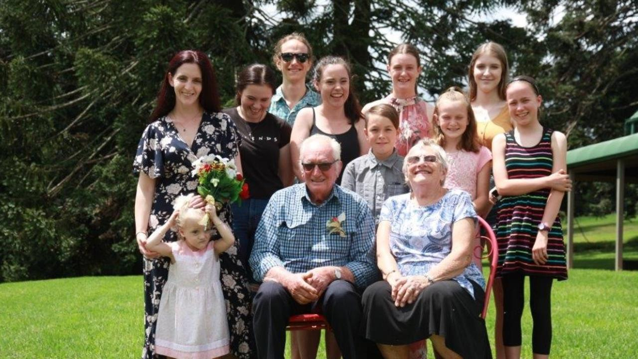 Clive and Beth Weier, from Mondure, celebrate their 60th wedding anniversary at the Bunya Mountains with their children and grandchildren. Photo: Contributed