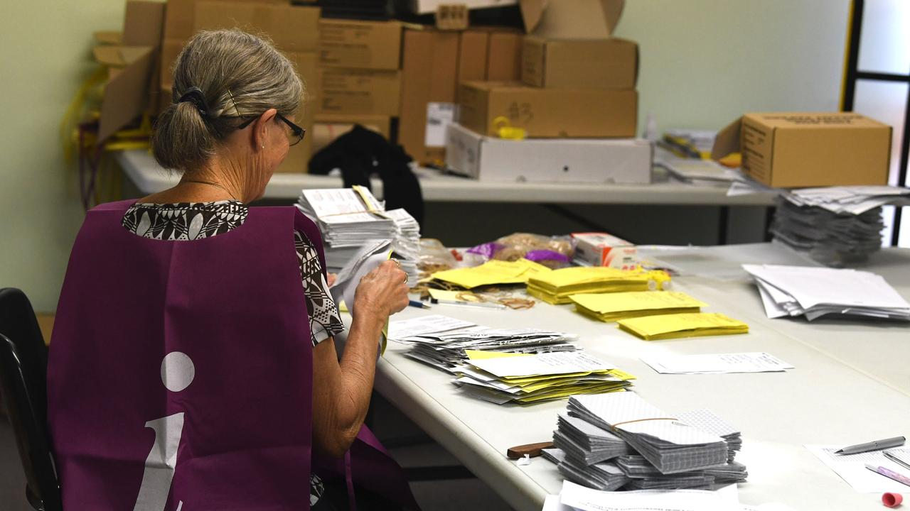 COUNT GOES ON: Despite coronavirus social distancing rules, a skeleton staff of Electoral Commission officials kept the Gympie Regional council election count running in Gympie.