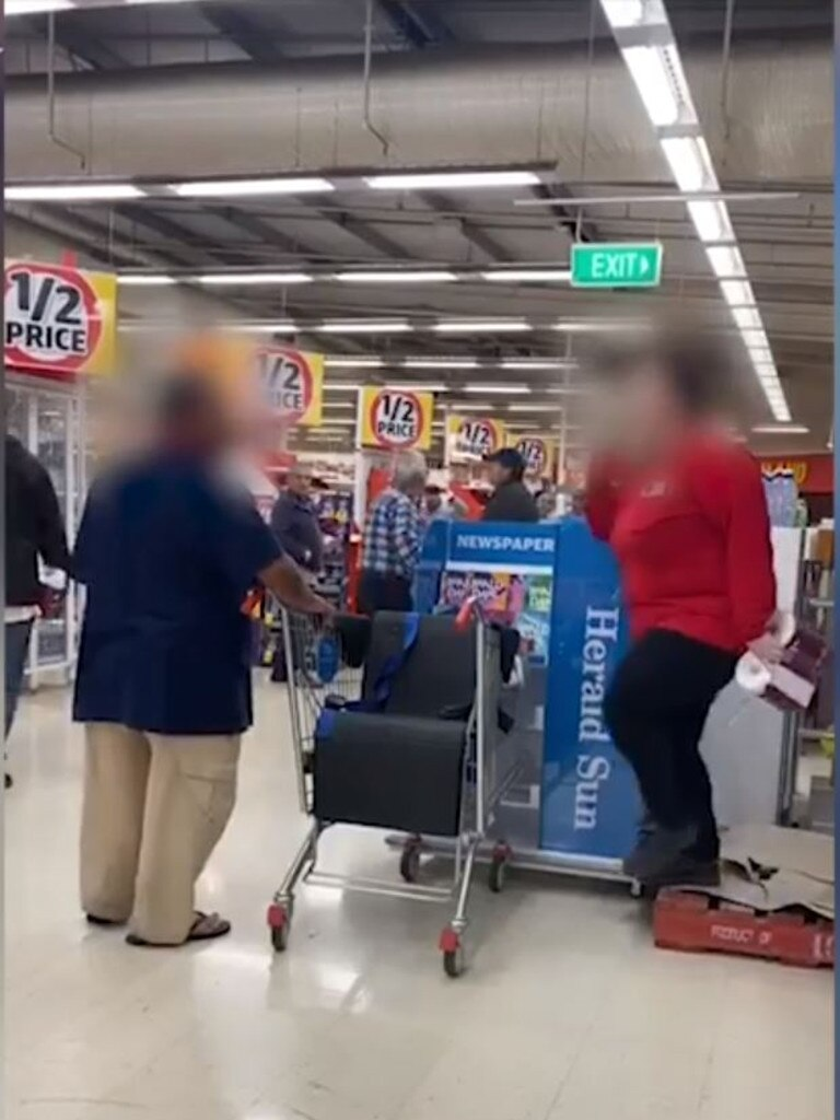 The man ignored requests to leave the store and continued to ask who the staff member was giving the large packs of toilet paper to. Picture: Facebook