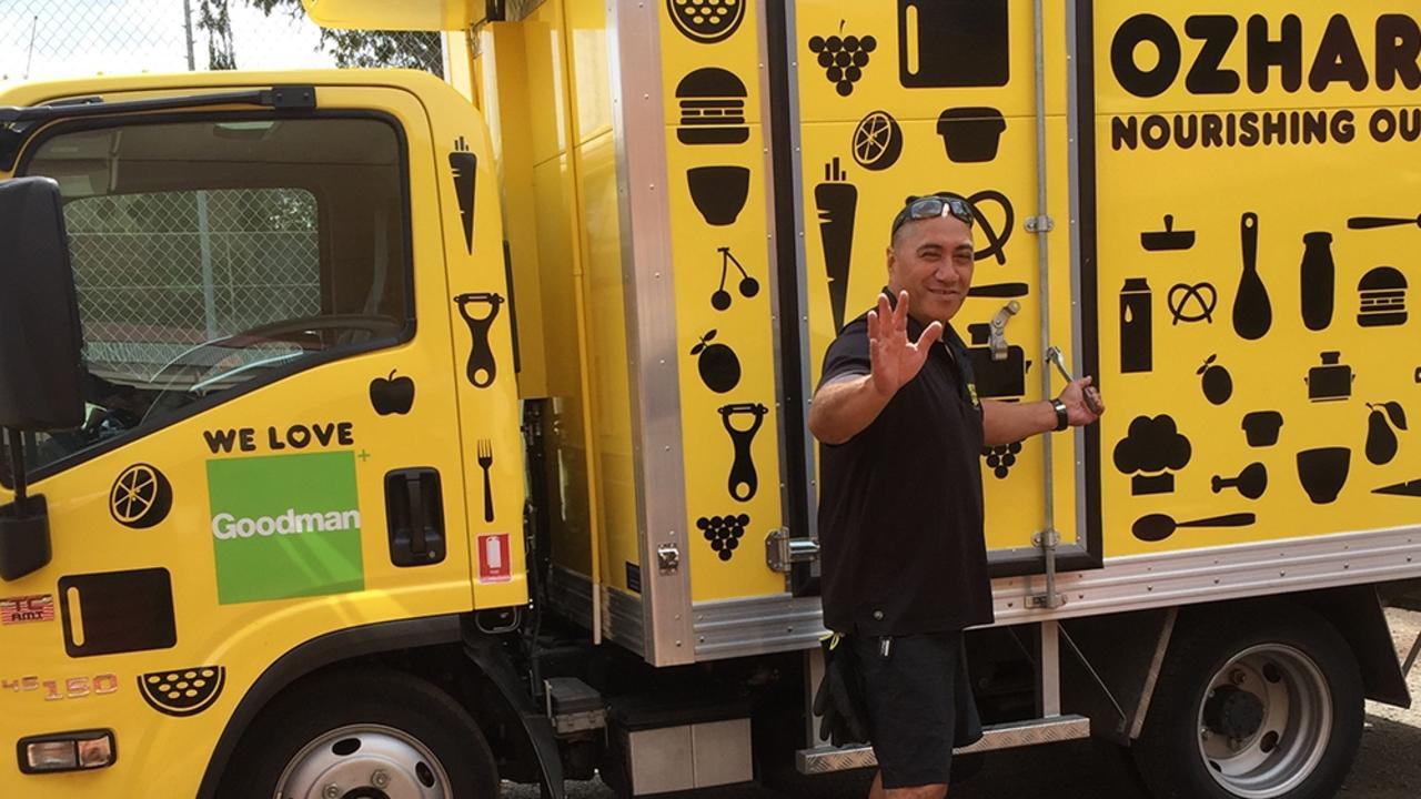 OzHarvest's Toowoomba driver Darren Warren making deliveries.