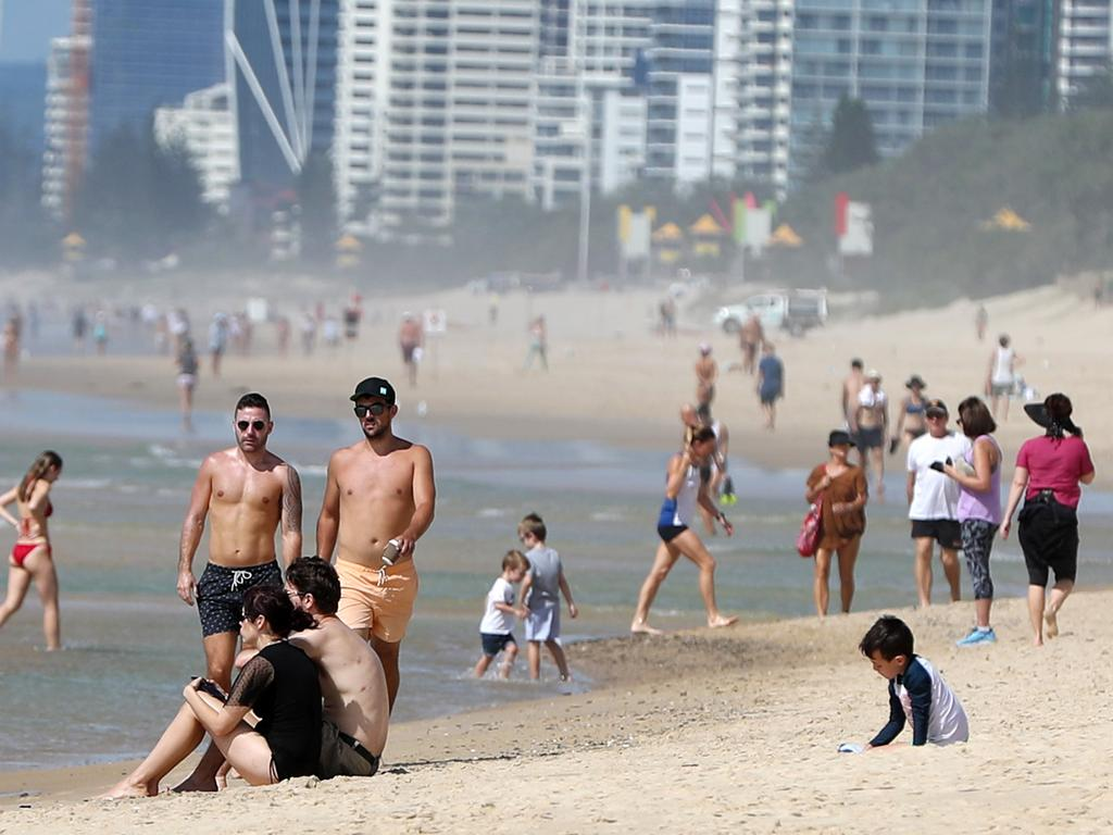 Groups of people at the beach at Surfers Paradise. Picture: Nigel Hallett