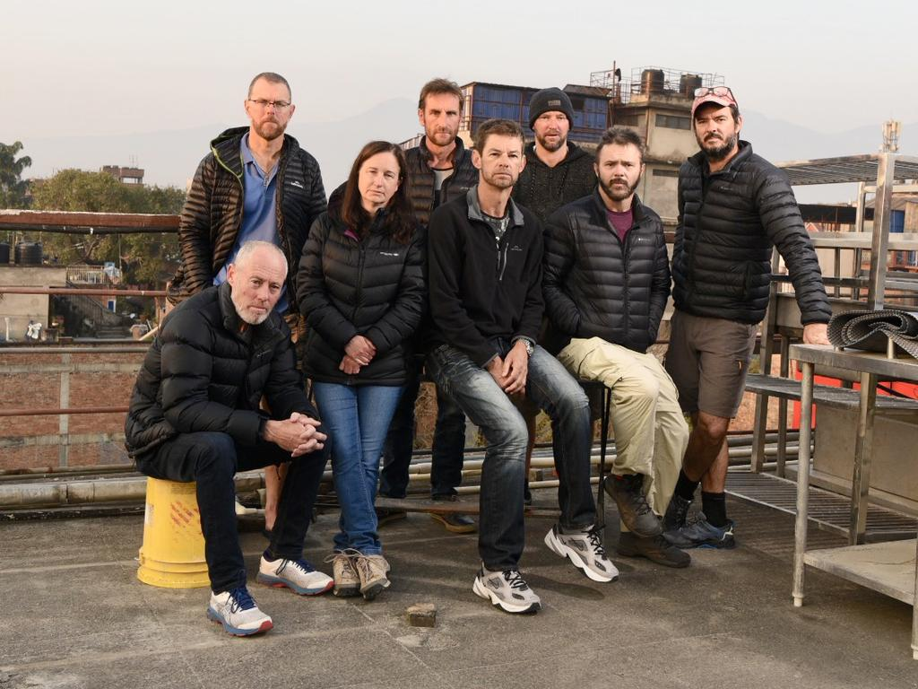 South Australians stuck in Nepal as a result of the coronavirus lockdown. Pictured is Tony Symons, Paul Ashenden, Jody Hutton, Ryan Cox, Brook Hutton, Jonathon Creasey, Anthony Keane and Brad Fleet. Pictured on top of Kathmandu Guest House. Picture: Brad Fleet