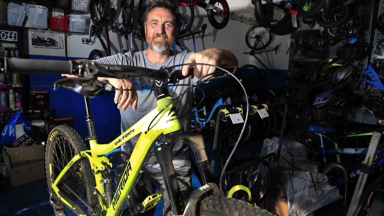 Darren Martin from Border Bikes at Tweed Heads South is being rushed off his 'pedals' with demand for bikes of all types including stationary bikes. Photo: Scott Powick