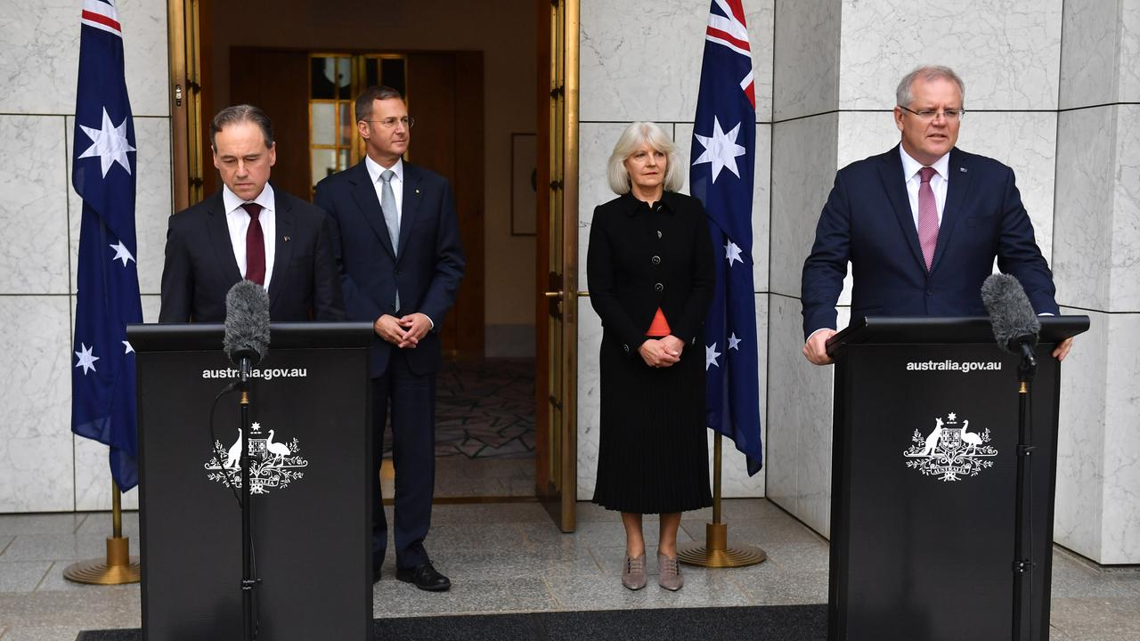Minister for Health Greg Hunt, Deputy Chief Medical Officer Michael Kidd, National Suicide Prevention Adviser Christine Morgan and Prime Minister Scott Morrison at a press conference at Parliament House in Canberra, Sunday, March 29, 2020. Picture: AAP Image/Mick Tsikas
