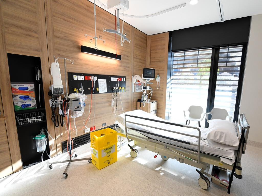 A coronavirus isolation room at Cabrini private hospital in Melbourne. Picture: James Ross
