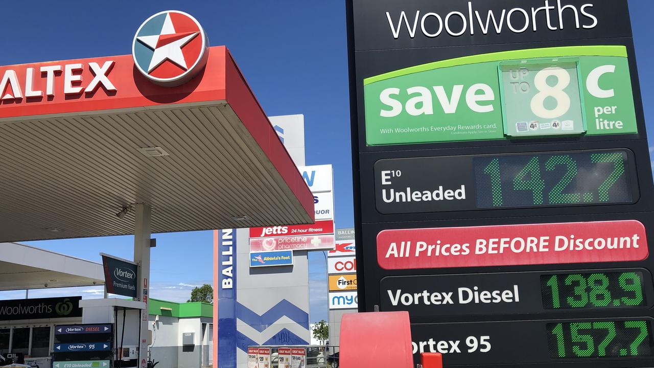 Petrol prices in Ballina on April 1, 2020.