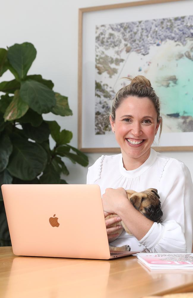 Pub or assistant? Business Chicks CEO Olivia Ruello with her adorable pooch, at her home office. Picture: Brett Costello