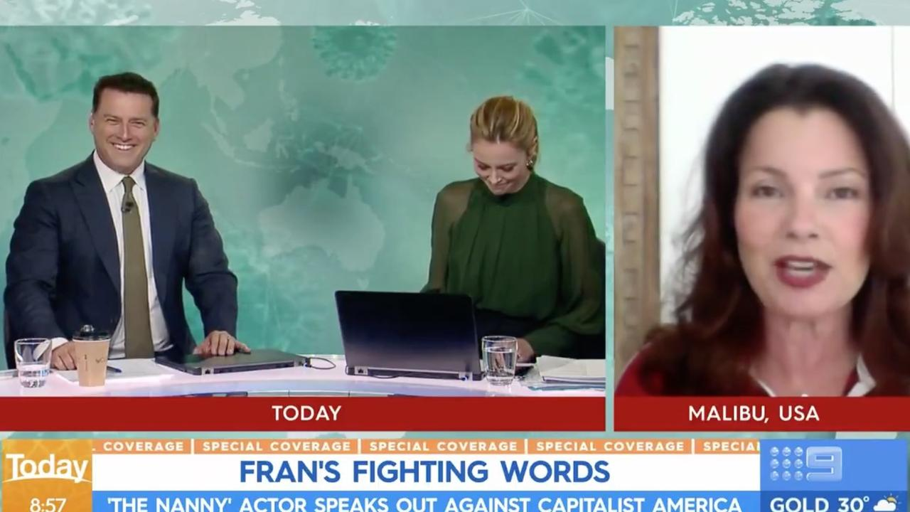 Langdon looked down as she stifled her giggles. Picture: Today/Channel 9