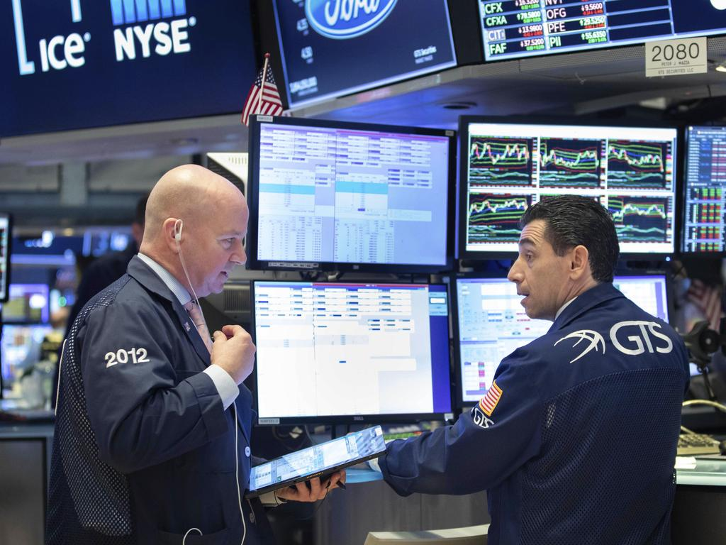 Traders on the floor of the NYSE on Wall Street. Picture: AP