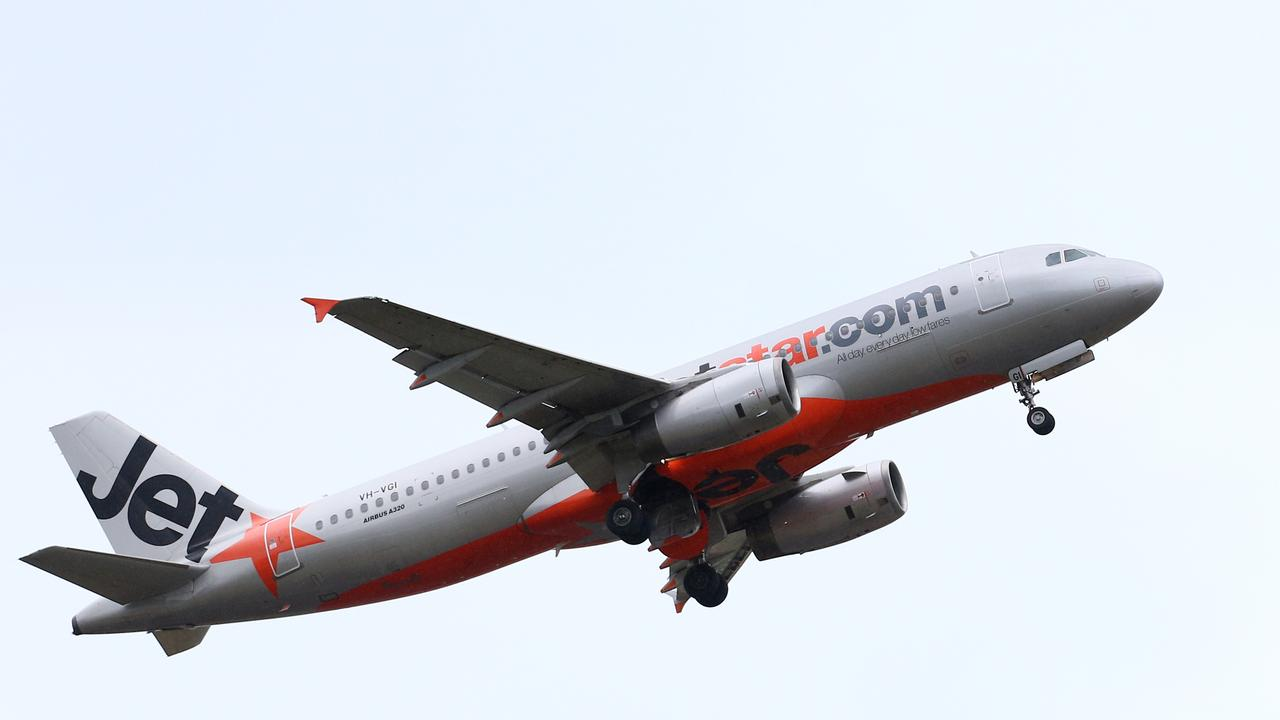 A Jetstar Airbus A320 commercial passenger plane takes off. Picture: Brendan Radke