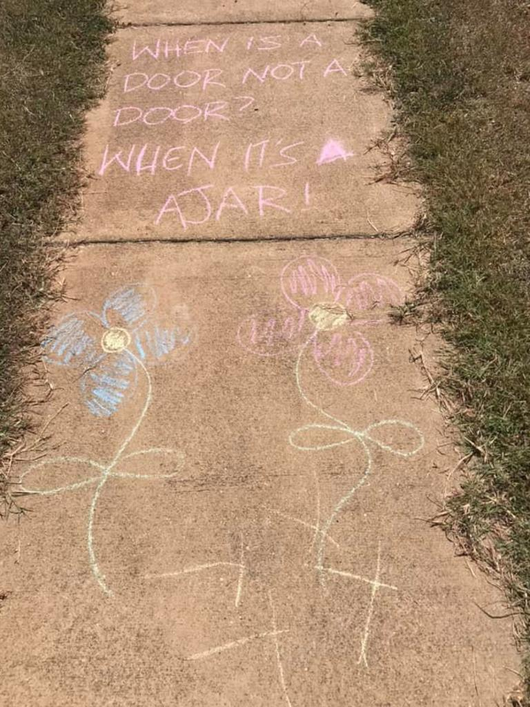 Mim Rodda and her family have covered the path with jokes.