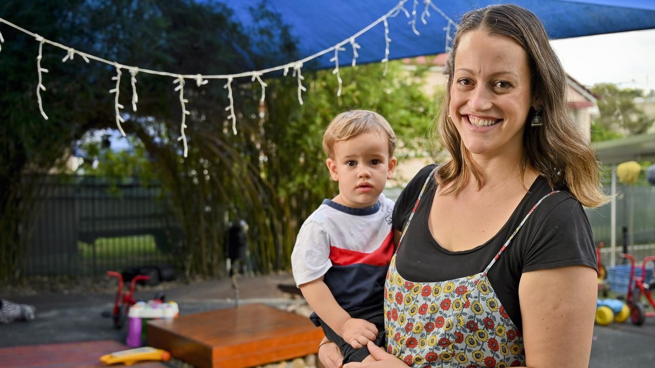 Bindarra Daycare director Olivia Vollbrecht with son Ari. Picture: Cordell Richardson