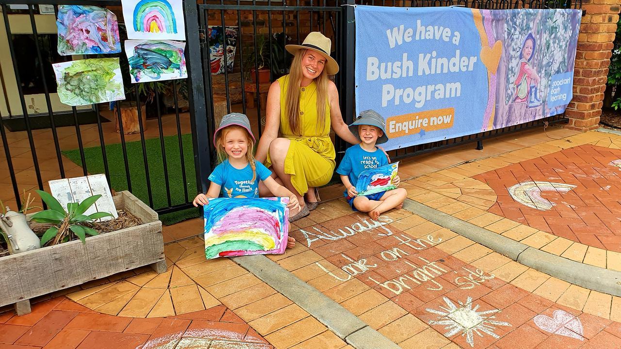 Goodstart Roma kindergarteners Charlotte Redmond and ParkerJohnson with Centre Director Tabatha Lippert.