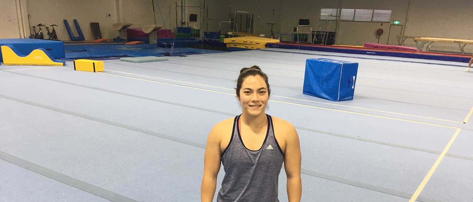 Future Olympic gymnast Georgia Godwin at an empty Delta Gymnastic training base.