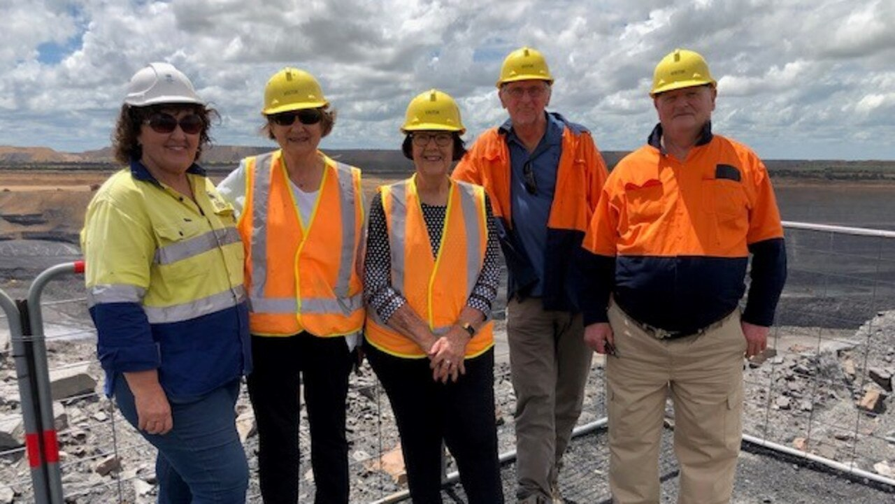 Haege Hestnes, Margaret Smith, Rolf Hestnes and Peter Smith with their tour guide Carolyn Dellar at Jellinbah Mine.