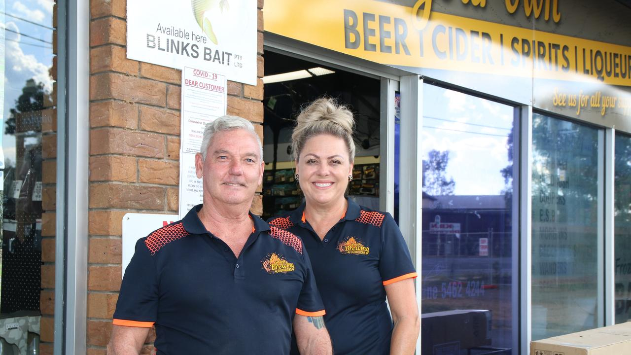THROUGH THE ROOF: Gatton Brewing and Outdoors owners Gavin and Melissa Sticklen say they're selling more home-brew kits than they ever before. Picture: Dominic Elsome
