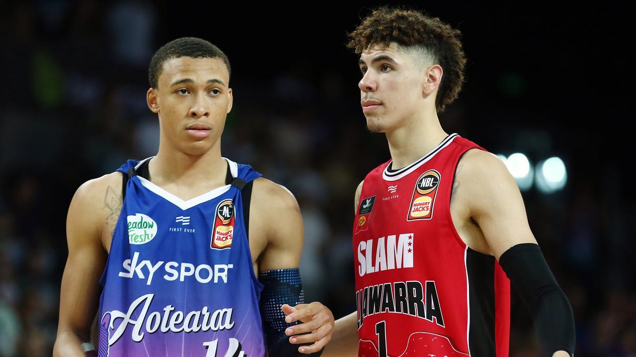 Future NBA stars LaMelo Ball and RJ Hampton last season.
