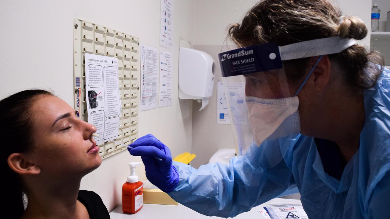 A woman being tested for coronavirus (COVID-19) at St Vincent's Hospital in Sydney. Picture: AAP