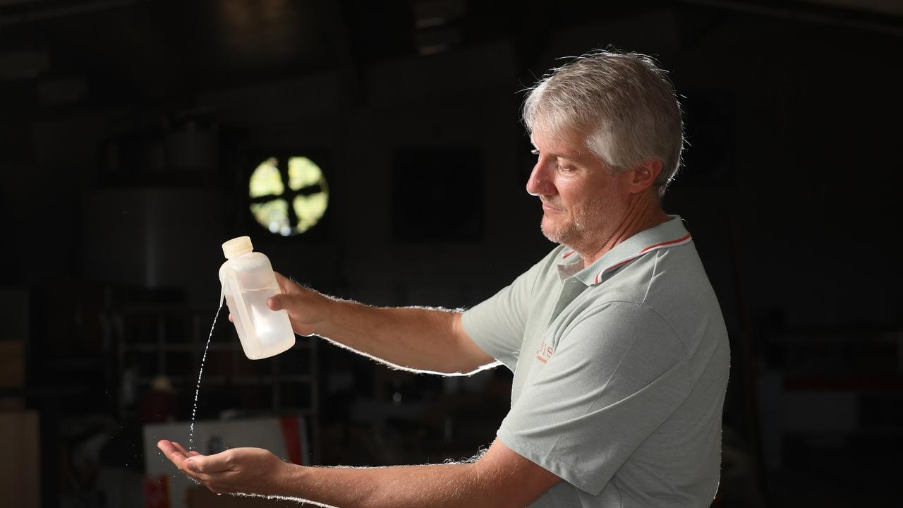 Distiller Jason Hannay is making hand sanitiser.