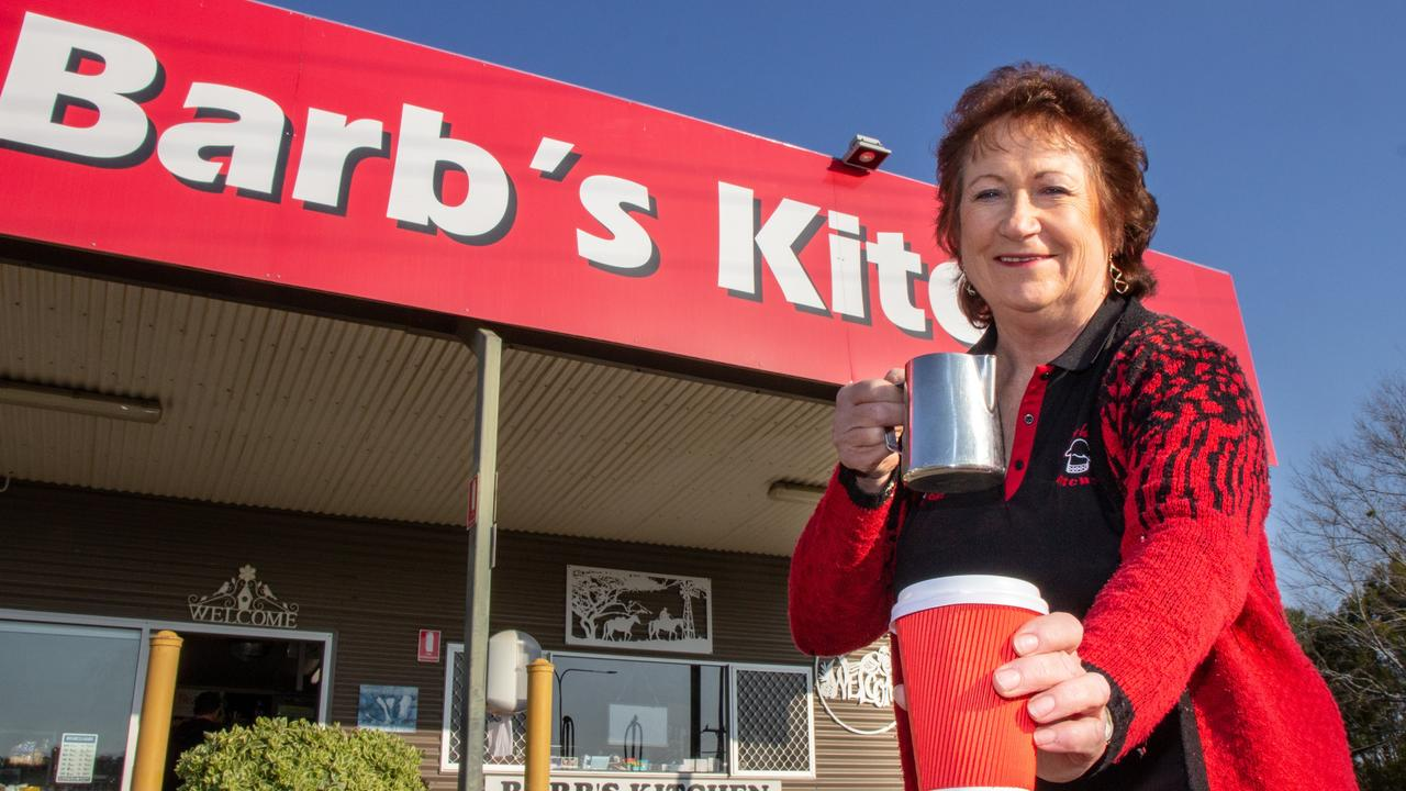 Barb's Kitchen owner Barbara Frohloff with another form of fuel – great coffee.