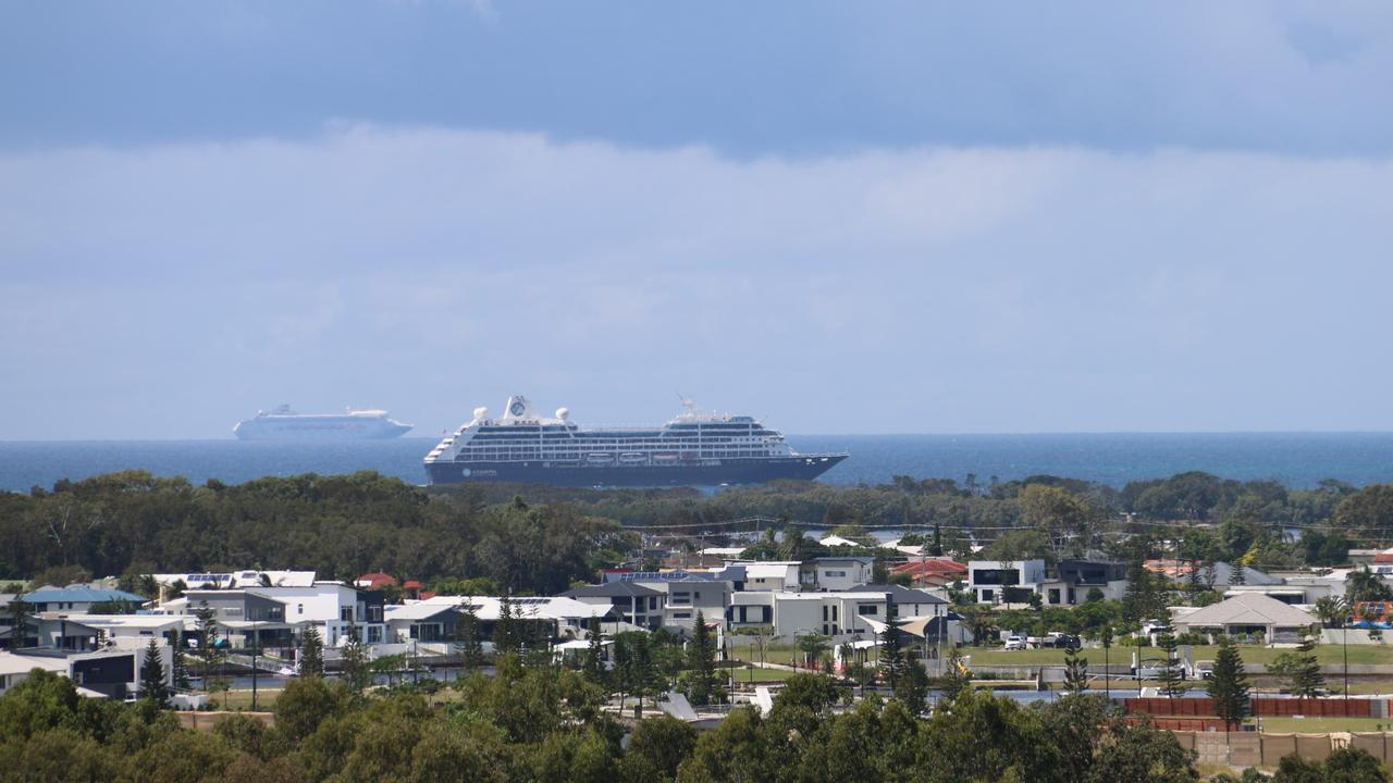 The Pacific Dawn and Azamara cruise ships were spotted anchored off Caloundra on Wednesday. Photo: Jennie Graham
