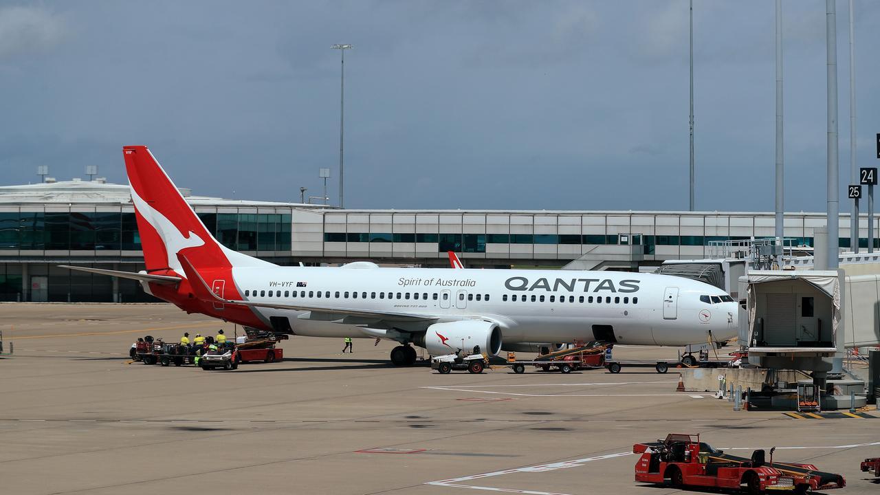 Qantas plane at Brisbane domestic terminal. Pic: Adam Head