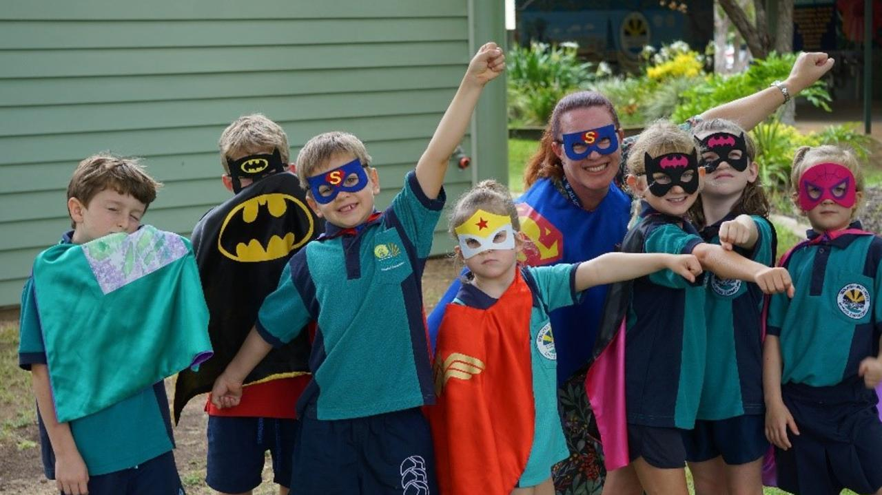 Year 2 superheroes with teacher Mrs Campbell.