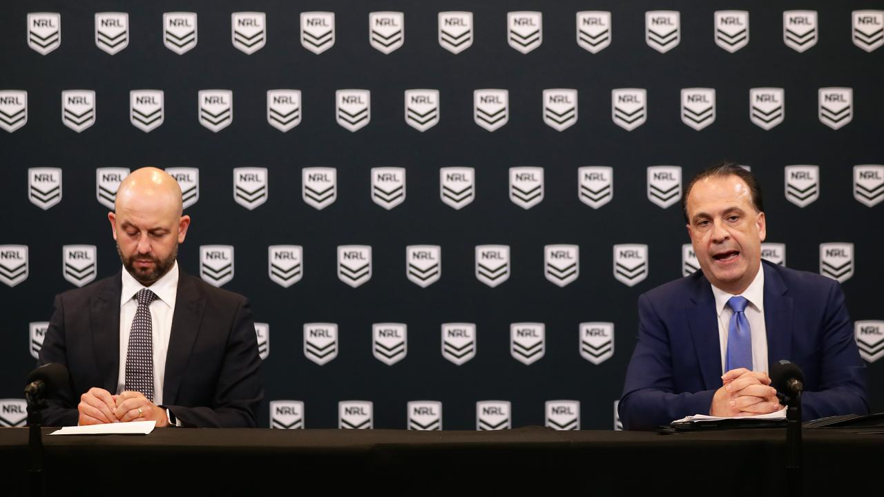 NRL CEO Todd Greenberg (L) and ARLC Chairman Peter Vlandys (R) speak to the media during an NRL press conference at NRL headquarters. (Photo by Matt King/Getty Images)