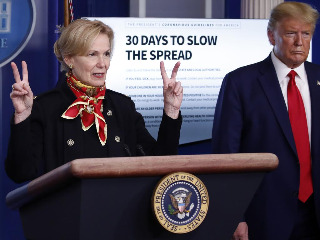 President Donald Trump listens as Dr. Deborah Birx speaks. Picture: AP