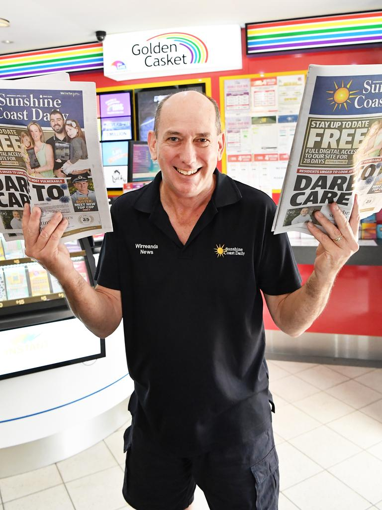 Local newsagents are pushing through these tough times with a smile on their face to keep community members up to date with vital news. Pictured, Joe McLaughlin of Wirreanda News, Buderim. Photo: Patrick Woods.