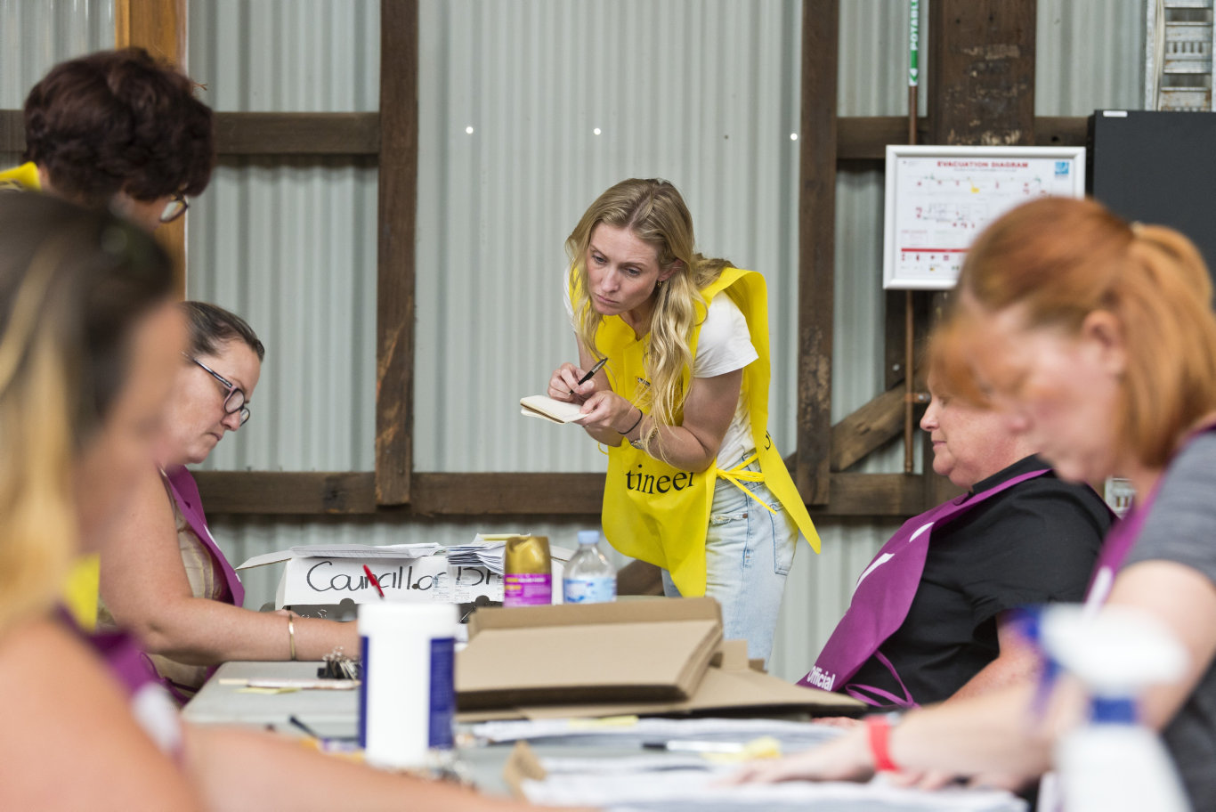 Candidate Rebecca Vonhoff scrutineers as vote counting in the Toowoomba Regional Council local government 2020 election continues at The Goods Shed, Sunday, March 29, 2020. Picture: Kevin Farmer