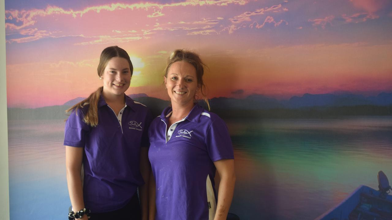 Salty's new employee Anika Hohn and new business owner Megan Parton who opened the shop yesterday.