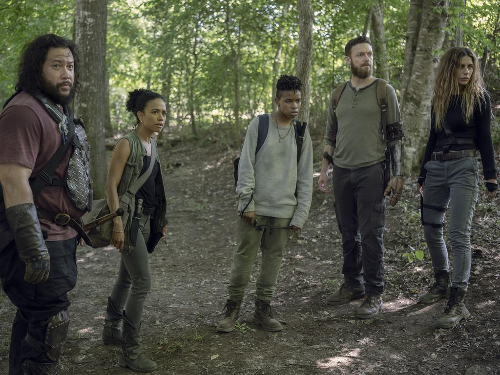 Cooper Andrews, Ross Marquand, Lauren Ridloff, Angel Theory, and Nadia Hilker in a scene from season 10 of The Walking Dead. Picture: Foxtel