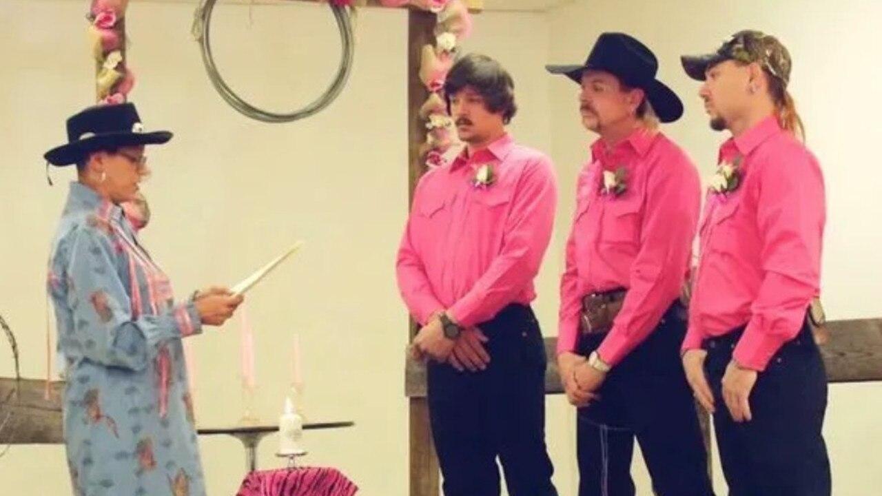 Travis Maldonado, Joe Exotic and John Finlay's wedding. Picture: Netflix