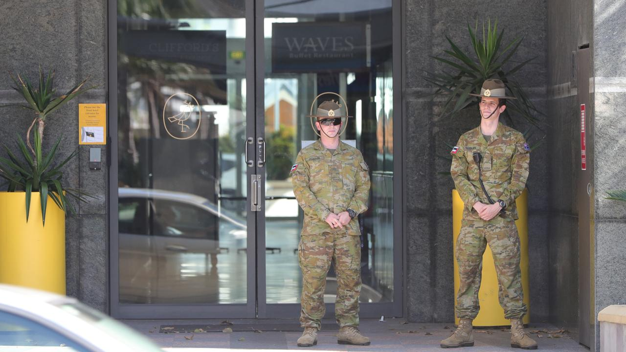 Australian Army soldiers outside Voco. Picture: Glenn Hampson.