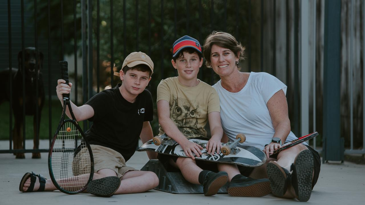 The family of Charles Christensen, Leo Christensen and Claire Christensen – captured as part of the global movement #thedrivewayproject. Picture: Deanne Woods Photography.