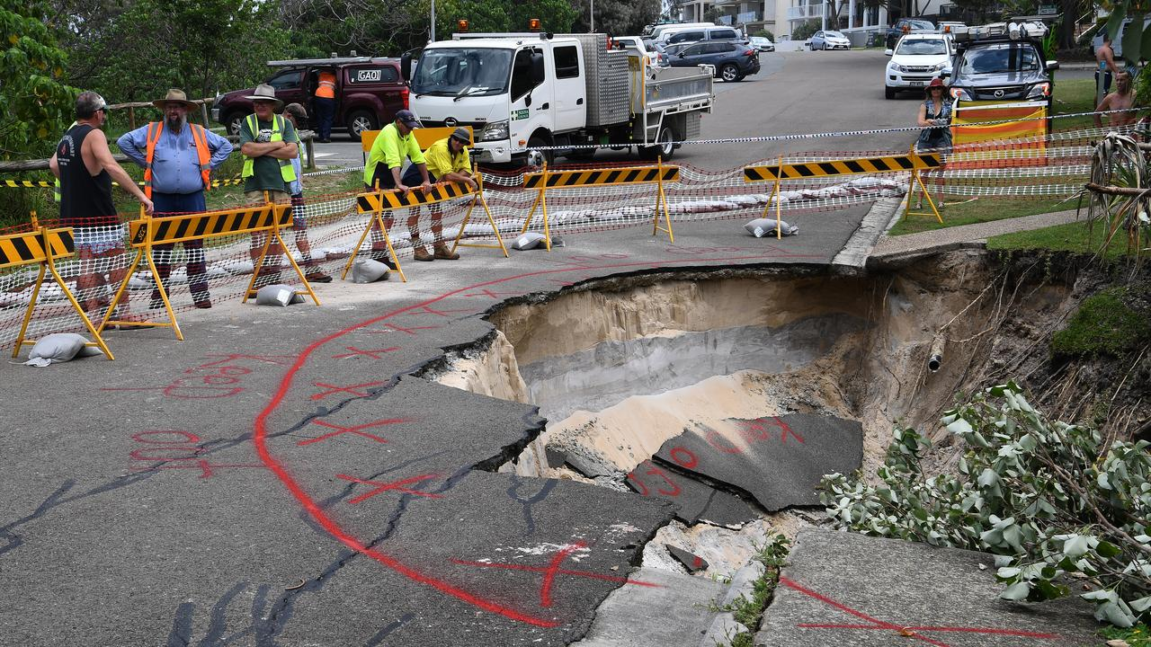 REPAIRS: A sink hole that opened due to storm water at Tingira Crescent, Sunrise Beach in January.